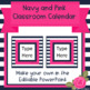 Navy and Pink Classroom Calendar - Editable