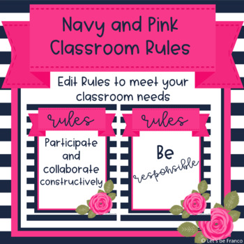 Navy and Pink Classroom Rules - Editable