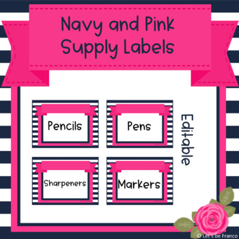 Navy and Pink Classroom Supply Labels - Editable