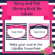 Navy and Pink Library Book Bin Labels - Editable