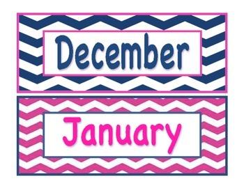 Navy and Pink Nautical Calendar Set
