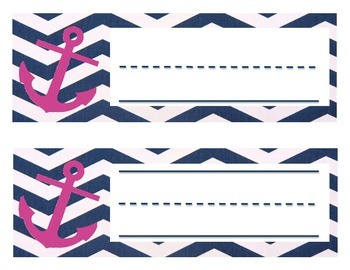 Navy and Pink Nautical Nameplates