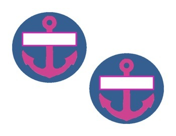 Navy and Pink Nautical Round Nametags