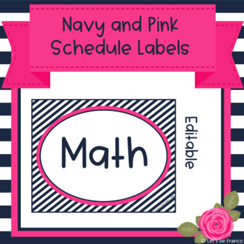 Navy and Pink Schedule Labels - Editable