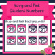 Navy and Pink Student Numbers 1-30