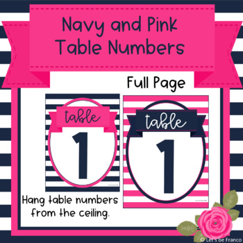 Navy and Pink Table Numbers 1-10
