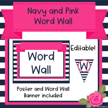 Navy and Pink Word Wall - Editable