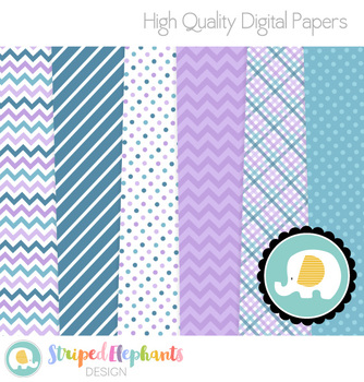 Navy and Purple Digital Papers