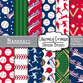 Navy and Red Baseball Digital Paper 1488