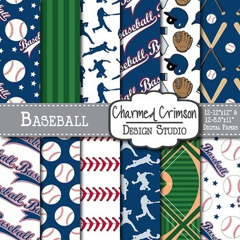 Navy and Red Baseball Digital Paper 1479