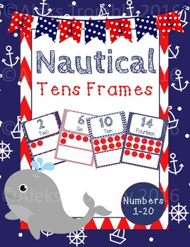 Navy and Red Nautical Tens Frames 1-20
