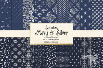 Navy and Silver Digital Paper, seamless patterns and backgrounds