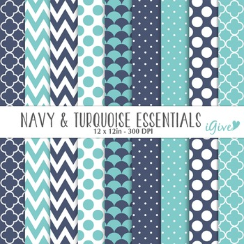Navy and Turquoise Digital Papers