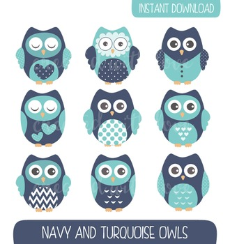 Navy and Turquoise Owls Clip Art