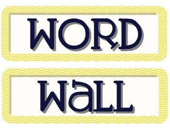 Navy and Yellow Chevron Word Wall