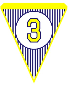 Navy and Yellow Pinstripe Pennants