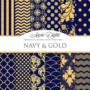 Navy blue and Gold Glitter Digital Paper sparkle pattern scrapbook background