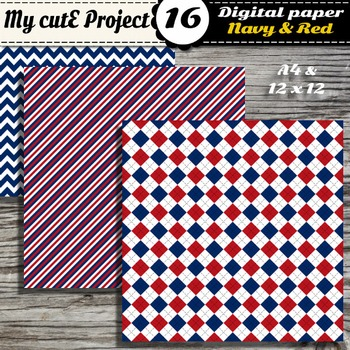 """Navy blue and red DIGITAL PAPER - Scrapbooking- A4 & 12x12"""" - Stripes..."""