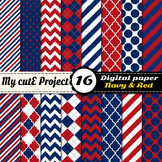 Navy blue and red DIGITAL PAPER - Scrapbooking- A4 & 12x12