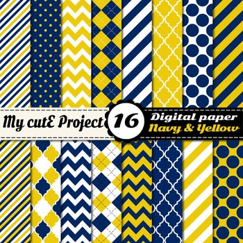 """Navy blue and yellow DIGITAL PAPER - Scrapbooking- A4 & 12x12"""" - Stripes..."""