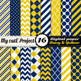 Navy blue and yellow DIGITAL PAPER - Scrapbooking- A4 & 12
