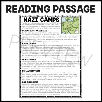 Nazi Camps World War II Reading Comprehension Worksheet, Holocaust