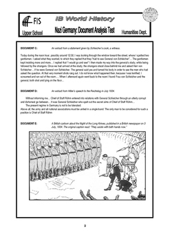 IB History - Nazi Germany Document Based Test