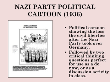 Nazi Party Political Cartoon (1936) - US History/APUSH/Global/World History