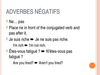 Ne... pas, ne... que - Tricky French Negatives - modifiable PowerPoint