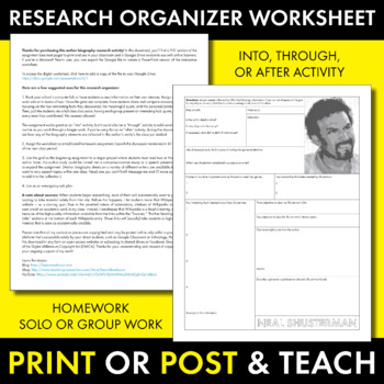 Neal Shusterman Author Study Worksheet, Unwind, Easy Biography Activity, CCSS