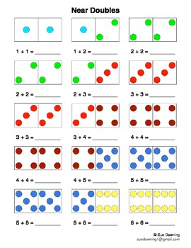 Near Doubles with Dominoes - Sums of 2 to 20
