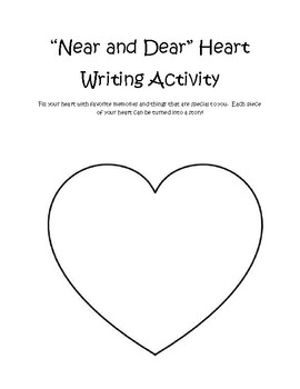Near and Dear Writing Heart Graphic Organizer