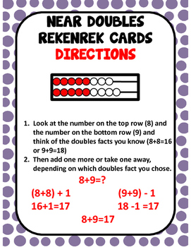 Near doubles Rekenrek Cards