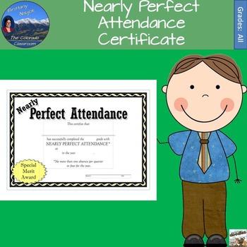 Nearly Perfect Attendance Certificate