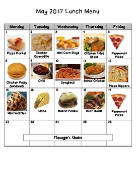 Nebo School District Picture Lunch Menu May