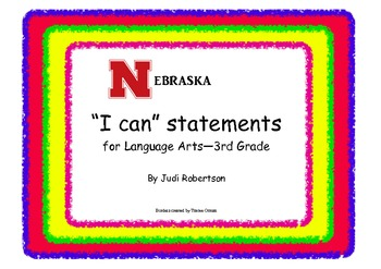 Nebraska 3rd grade I can statements for Language Arts