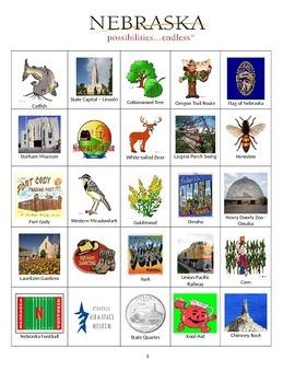 Nebraska Bingo:  State Symbols and Popular Sites