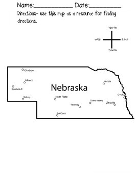 Nebraska Cardinal Directions Activity