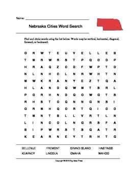 Nebraska Cities Word Search (Grades 3-5)