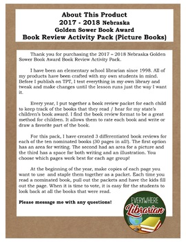 Nebraska Golden Sower Award 2017 - 2018 Book Review Activity Pack NO PREP