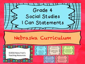 Nebraska Grade 4 Social Studies I Can Statement Posters Wh