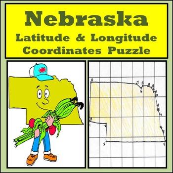 Nebraska Latitude and Longitude Coordinates Puzzle - 19 Po