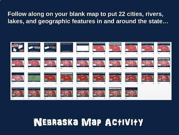 Nebraska Map Activity- fun, engaging, follow-along 20-slide PPT