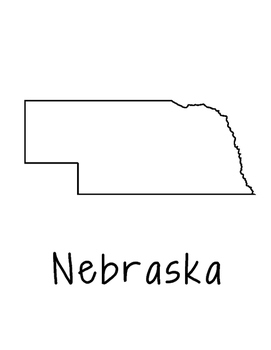 Nebraska Map Coloring Page Craft - Lots of Room for Note-Taking & Creativity