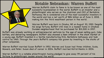 Nebraska State Study Notable People, Places, and Facts Unit
