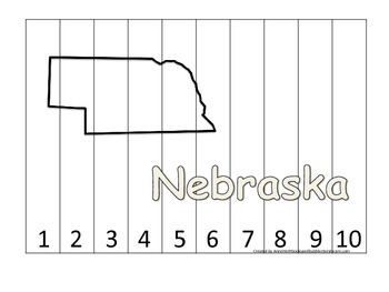 Nebraska Number Sequence Puzzle.  Learn the States preschool printable game.