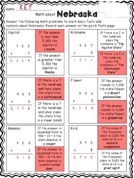 Math about Nebraska State symbols through Multiplication Practice