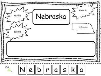 Nebraska Read it, Build it, Color it Learn the States preschool worksheet.