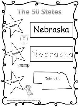 Nebraska Read it, Trace it, Color it Learn the States pres