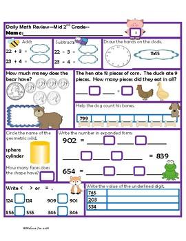 Nebraska Mathematics Standards Mid 2nd Grade Daily Math Review